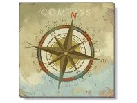 LivingStyles Bayport Stretched Canvas Wall Art Print, Compass, Small