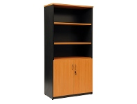 LivingStyles Logan Half Door Cupboard, Beech / Black