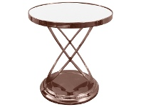 LivingStyles Tiffany Glass Top Stainless Steel Side Table, Copper / White