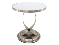 LivingStyles Taylor Glass Top Stainless Steel Side Table, Nickel / White