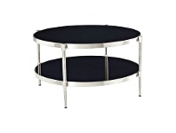 LivingStyles Zola Glass Top Stainless Steel Round Coffee Table, 80cm, Nickel / Black
