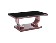 LivingStyles Zoe Glass Top Stainless Steel Coffee Table, 100cm, Copper / Black