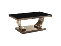 LivingStyles Zoe Glass Top Stainless Steel Coffee Table, 100cm, Gold / Black