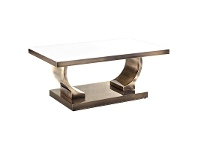 LivingStyles Zoe Glass Top Stainless Steel Coffee Table, 100cm, Gold / White