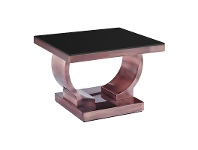 LivingStyles Zoe Glass Top Stainless Steel Side Table, Copper / Black