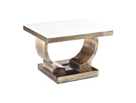 LivingStyles Zoe Glass Top Stainless Steel Side Table, Gold / White