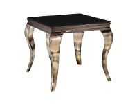 LivingStyles Tresor Glass Top Stainless Steel Side Table, Gold / Black
