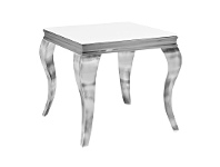 LivingStyles Tresor Glass Top Stainless Steel Side Table, Nickel / White