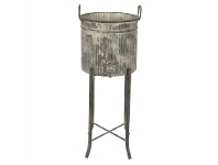 LivingStyles Mulion Iron Planter / Party Bucket on Stand - Distressed Grey