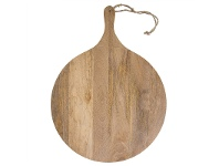 LivingStyles Blayney Solid Mango Wood Timbe Round Serving Board with Handle, Large