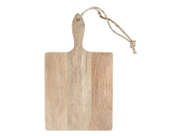 LivingStyles Blayney Solid Mango Wood Timber Rectangular Serving Board with Handle - Small