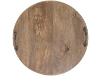 LivingStyles Eplica Solid Mango Wood Timber Round Serving Board with Iron Handles
