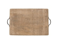 LivingStyles Eplica Solid Mango Wood Timber Rectangular Serving Board with Iron Handles
