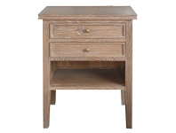 LivingStyles Partrack Oak Timber Bedside Table, Brown Oak