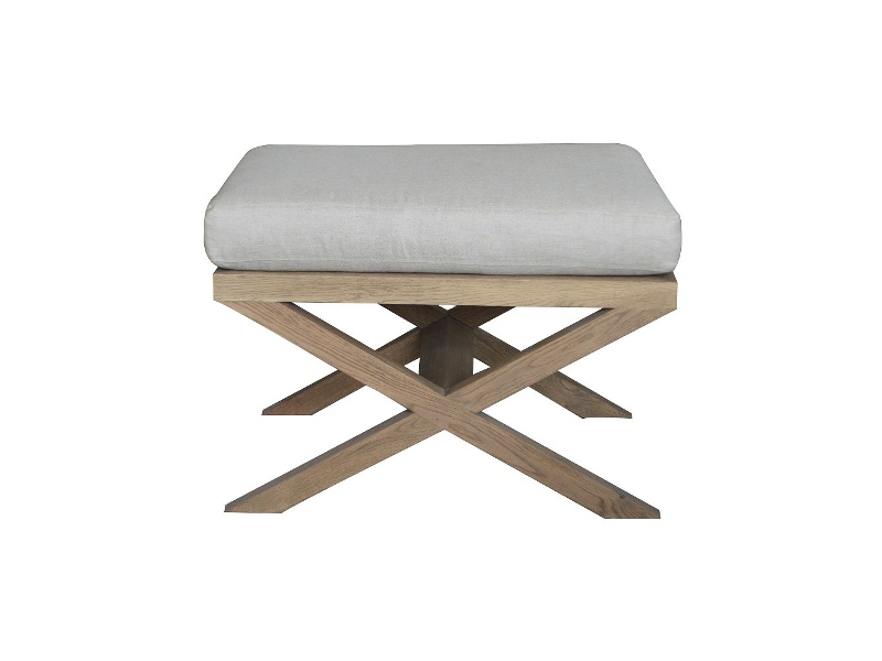 Rossmore Oak Timber Ottoman Stool with Linen Seat, Weathered Oak / Oatmeal