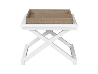 LivingStyles Darby Timber Tray Top Side Table, Weathered Oak / White