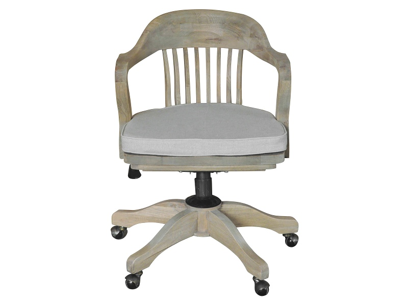 Bankers Oak Timber Office Chair with Linen Seat Pad, Weathered Oak