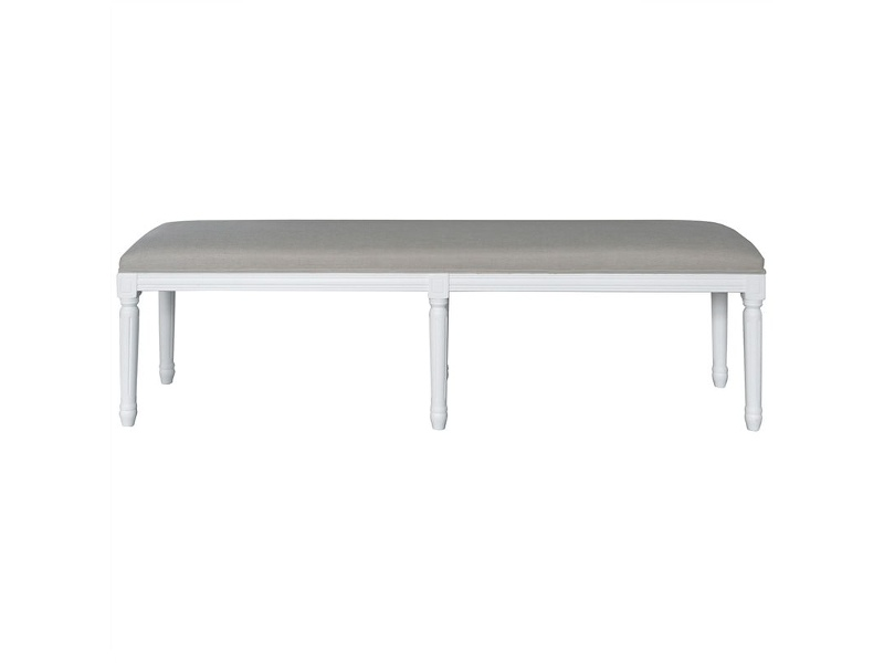 Antoinette Linen Upholstered Oak Timber Bench, 160cm, Matt White