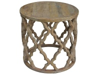 LivingStyles Sirah Recycled Timber Round Side Table, 60cm