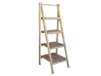 LivingStyles Vanda Recycled Pine Timber Folding Ladder Display Shelf