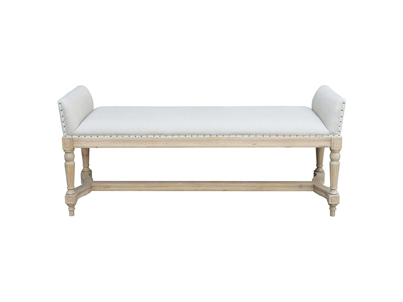 Simon Solid Oak Timber Bench with Plain Linen Seat