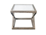 LivingStyles Valencia Glass Top Oak Timber Side Table, Burnt Oak