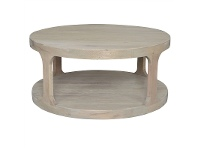 LivingStyles Frans Oak Timber Round Coffee Table, 92cm, Weathered Oak