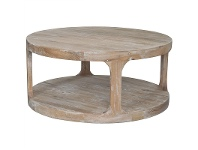 LivingStyles Frans Oak Timber Round Coffee Table, 92cm, Lime Washed Oak
