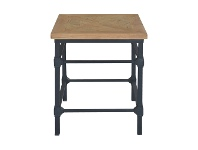 LivingStyles Allan Parquet Timber Top Iron Side Table