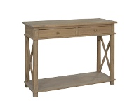 LivingStyles Phyllis Oak Timber 2 Drawer Console Table, 110cm, Weathered Oak