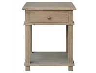 LivingStyles Phyllis Oak Timber Side Table, Small, Weathered Oak