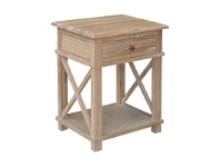LivingStyles Phyllis Oak Timber Side Table, Small, Lime Washed Oak