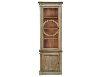 LivingStyles Georgian Solid American Oak Timber Display Cabinet, Lime Washed Natural