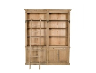 LivingStyles Georgian Solid American Oak Timber Double Section Library Bookcase