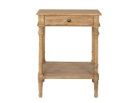 LivingStyles Georgian Solid American Oak Timber Single Drawer Side Table with Shelf
