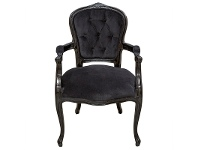 LivingStyles Louis XV Velvet Fabirc Upholstered Birch Timber Dining Armchair - Black