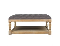 LivingStyles Burton Solid American Oak Timber Coffee Table / Ottoman with Tufted Linen Top, Cocoa