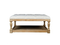 LivingStyles Burton Solid American Oak Timber Coffee Table / Ottoman with Tufted Linen Top, 100cm, Beige