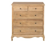 LivingStyles Symonds Solid American Oak Timber 5 Drawer Tallboy