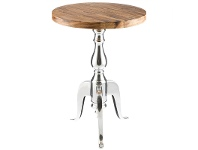 LivingStyles Admaston Mango Wood Timber & Aluminium Round Side Table - Medium