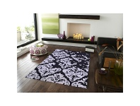 LivingStyles Botanical Modern Style No.1068 Hand Tufted Wool Rug in Black/Silver - 160x230cm