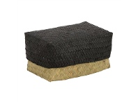 LivingStyles Avonhead Woven Seagrass Large Storage Box with Lid - Black/Natural