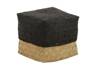 LivingStyles Avonhead Woven Seagrass Small Storage Box with Lid - Black/Natural