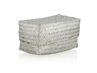 LivingStyles Avonhead Woven Seagrass Large Storage Box with Lid - Silver