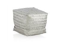 LivingStyles Avonhead Woven Seagrass Small Storage Box with Lid - Silver
