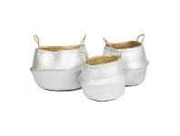 LivingStyles Rountree 3 Piece Woven Seagrass Foldable Basket Set - Silver