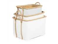 LivingStyles Grahams 3 Piece Woven Seagrass Rectangular Storage Basket Set - White