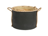 LivingStyles Grahams 3 Piece Woven Seagrass Round Storage Basket Set - Black