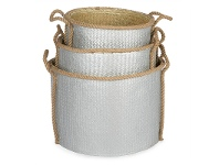 LivingStyles Grahams 3 Piece Woven Seagrass Storage Basket Set - Silver