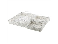 LivingStyles Lilith 3 Piece Water Hyacinth Hampton Nested Tray Set
